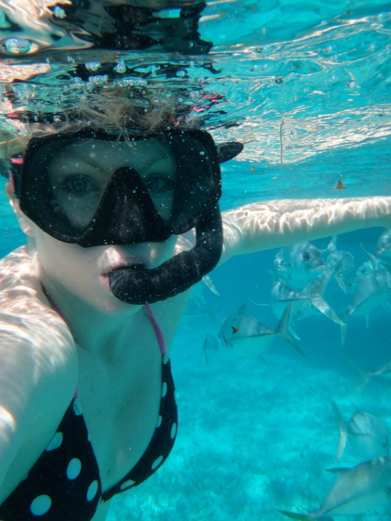 Brandy Snorkeling off the coast of Caye Caulker.
