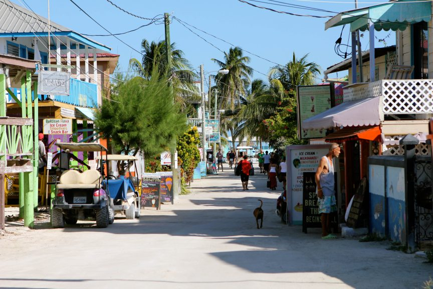 The main street in Caye Caulker. Photo by Brandy Little.