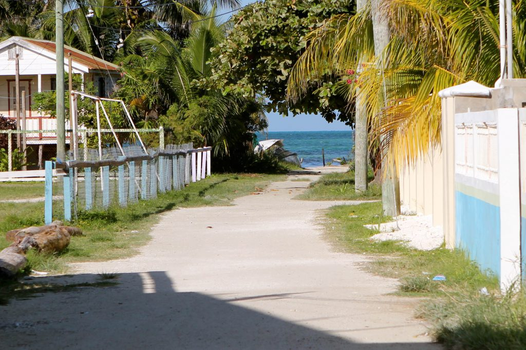 Caye Caulker is less than a mile wide. You can see the ocean on both ends of their streets. Photo by Brandy Little.