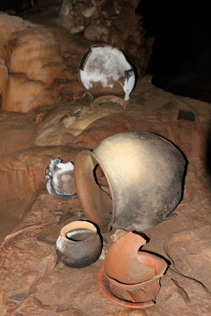 Mayan Pottery in the ATM Cave. Photo by Brandy Little.