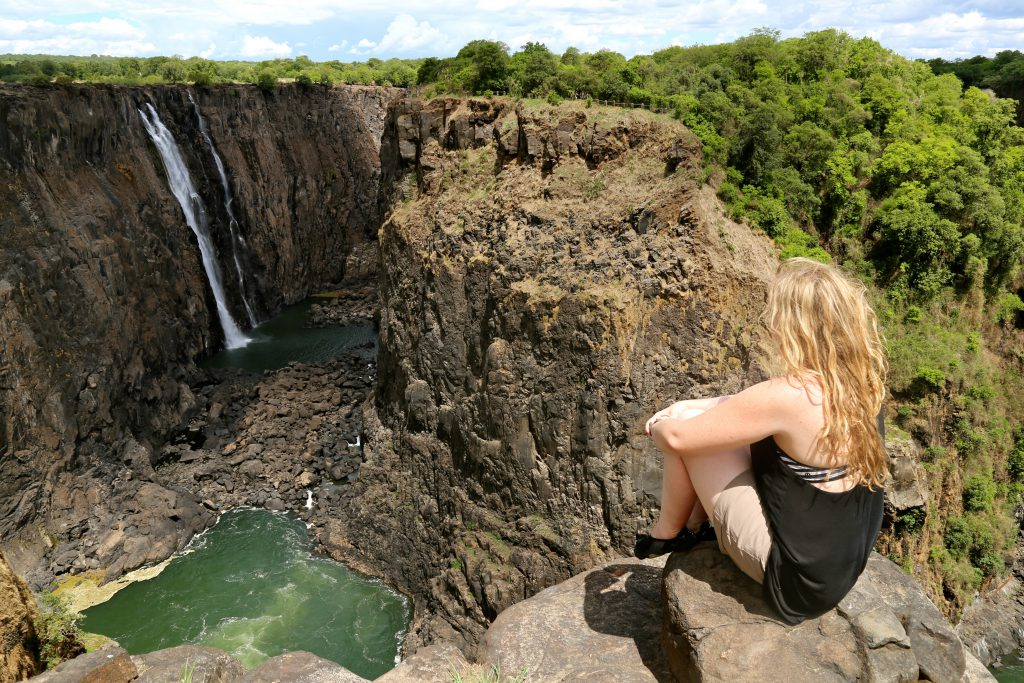 Brandy Little at Victoria Falls. Photo by Caitlin Monahan.