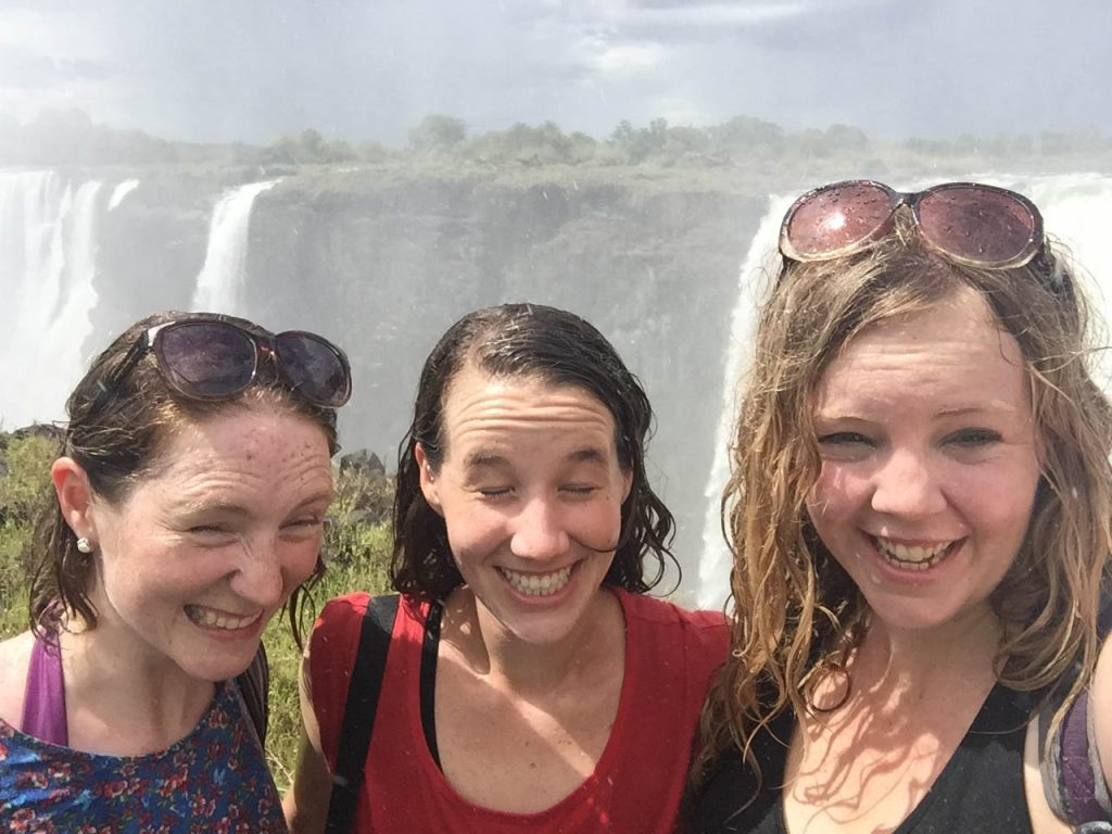 Emily, Caitlin and I at Victoria Falls