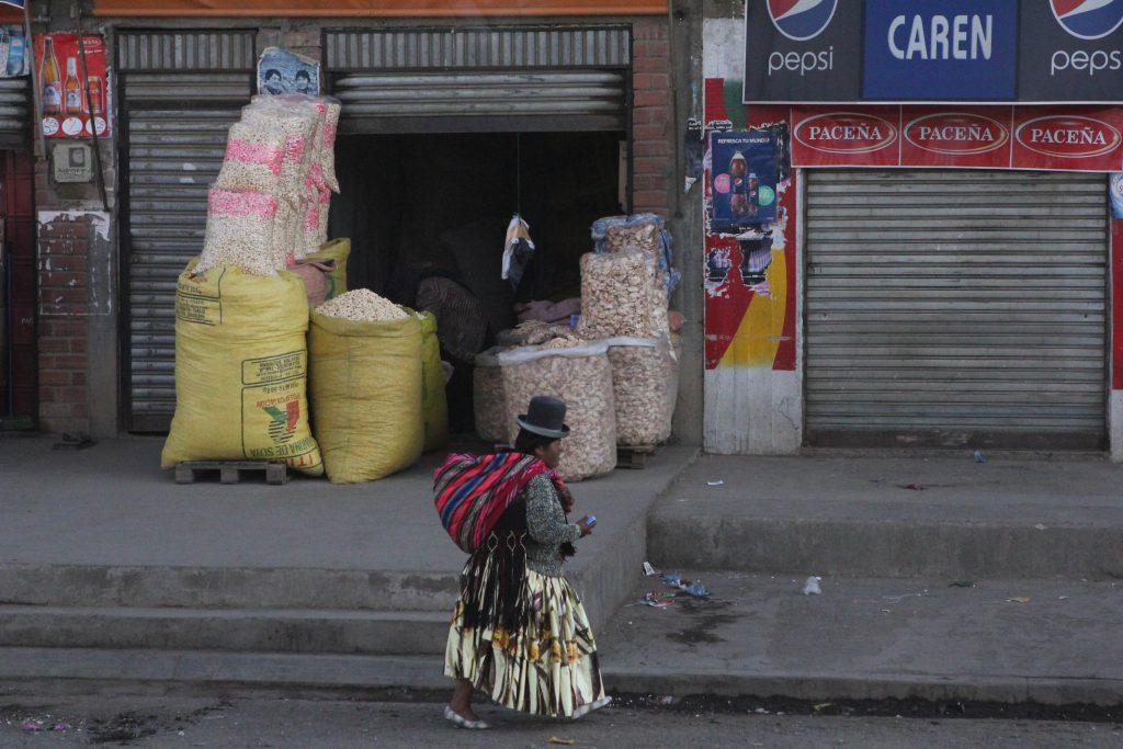Woman walking in La Paz Bolivia. Photo by Brandy Little.