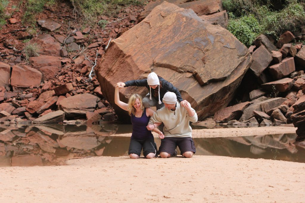 Brandy Little, Leslie Alig, and Jeremy Koonce Failing at Making a Pyramid photo by Erin Byrne