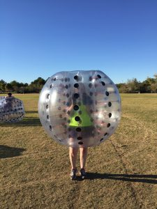 Brandy playing Bubble Football